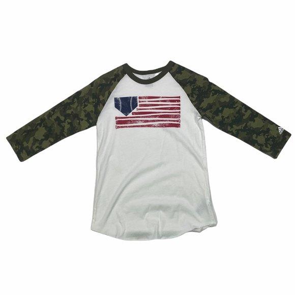 Adidas Baseball Flag 3/4 Camo Sleeve Boys Size L White Crew Neck Shirt